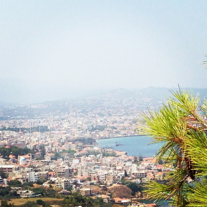 Panoramic view of Chania from famous Koukouvagia cafe
